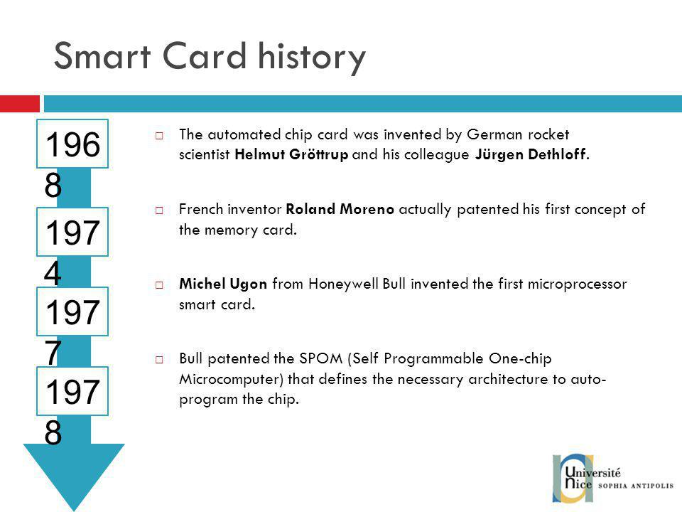 Smart Card history 1968. The automated chip card was invented by German rocket scientist Helmut Gröttrup and his colleague Jürgen Dethloff.
