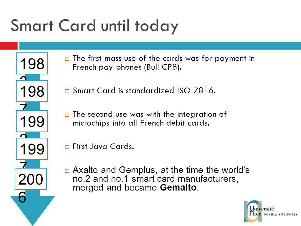 Smart Card until today The first mass use of the cards was for payment in French pay phones (Bull CP8).