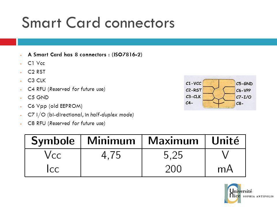 Smart Card connectors A Smart Card has 8 connectors : (ISO7816-2)
