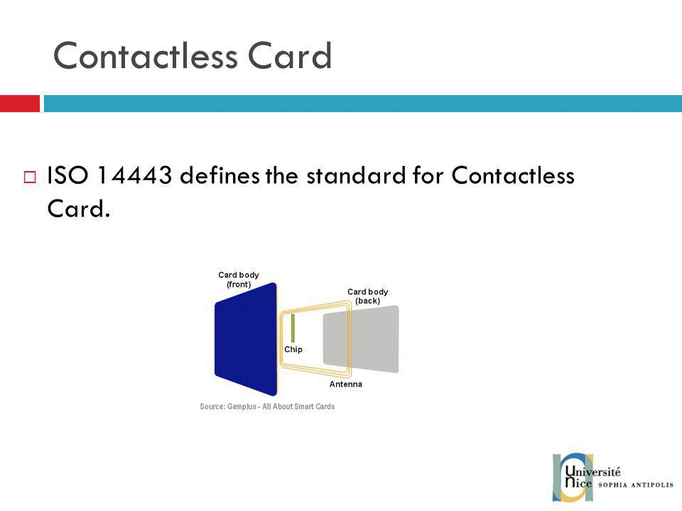 Contactless Card ISO 14443 defines the standard for Contactless Card.