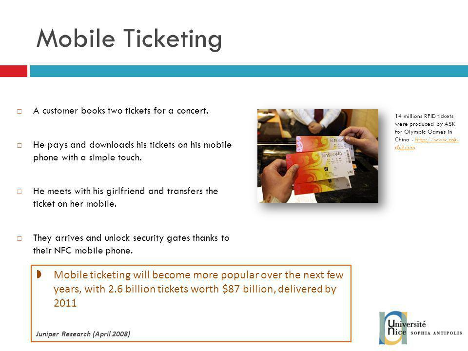 Mobile Ticketing A customer books two tickets for a concert. He pays and downloads his tickets on his mobile phone with a simple touch.