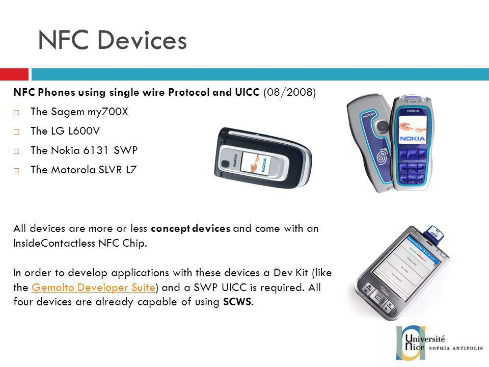 NFC Devices NFC Phones using single wire Protocol and UICC (08/2008)