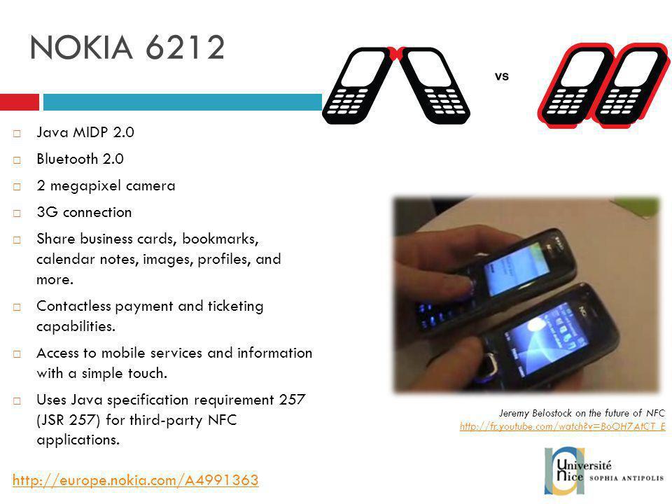 NOKIA 6212 Java MIDP 2.0 Bluetooth 2.0 2 megapixel camera