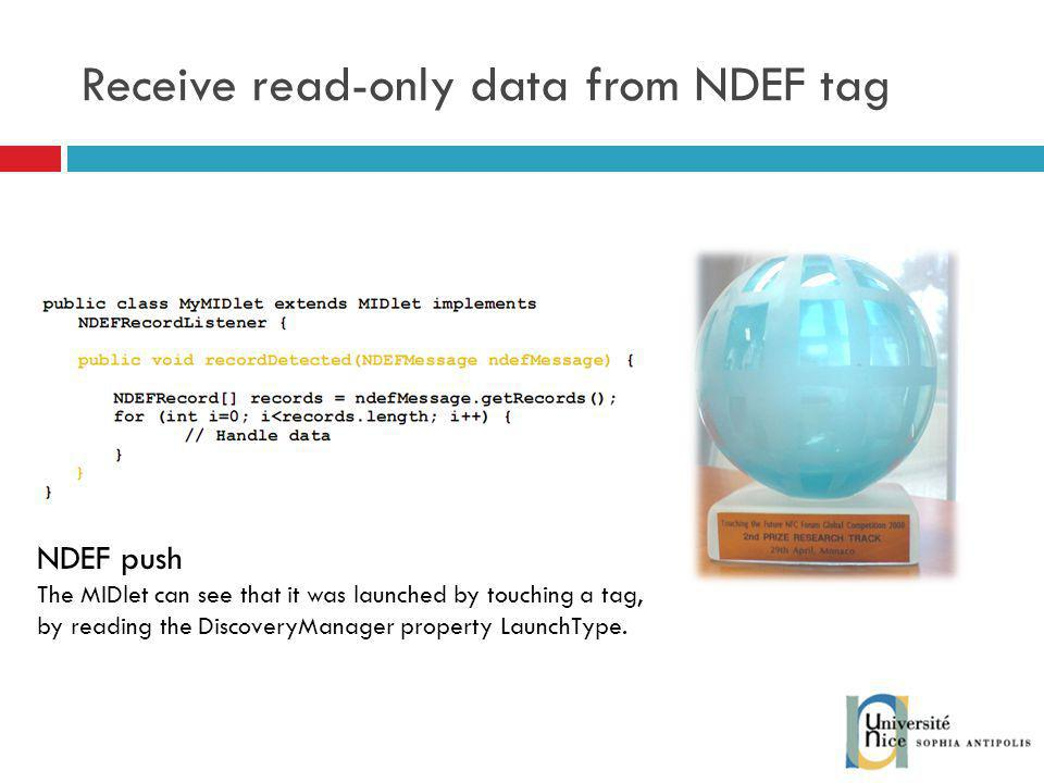 Receive read-only data from NDEF tag