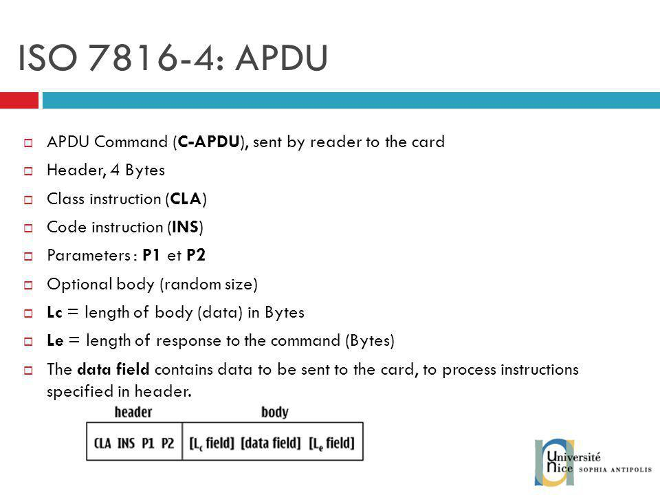 ISO : APDU APDU Command (C-APDU), sent by reader to the card