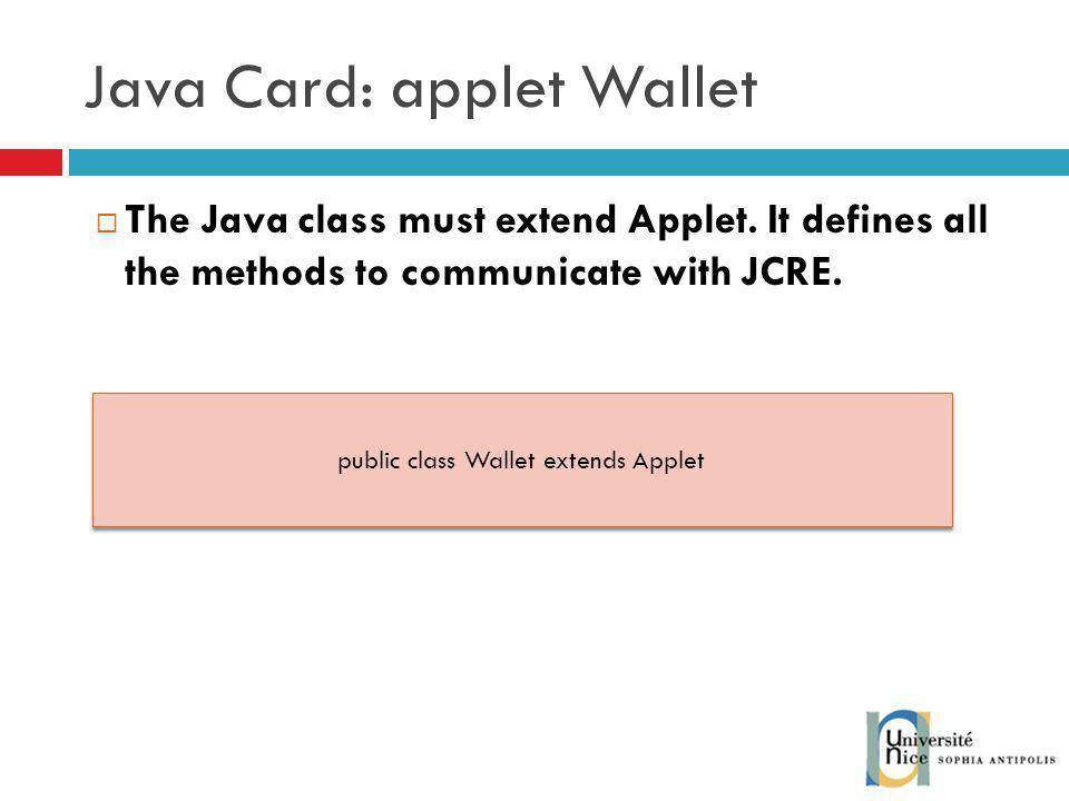 Java Card: applet Wallet
