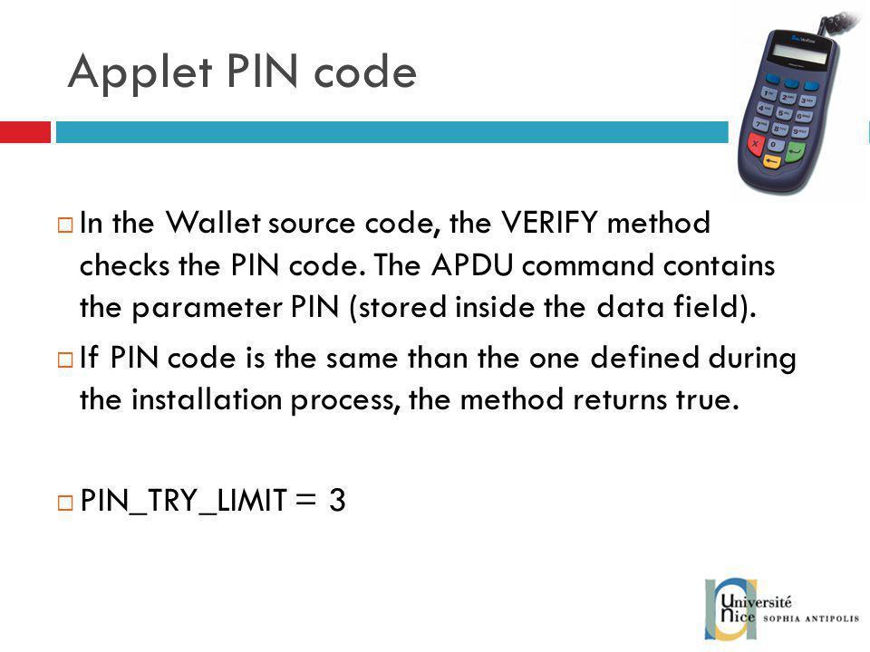 Applet PIN code