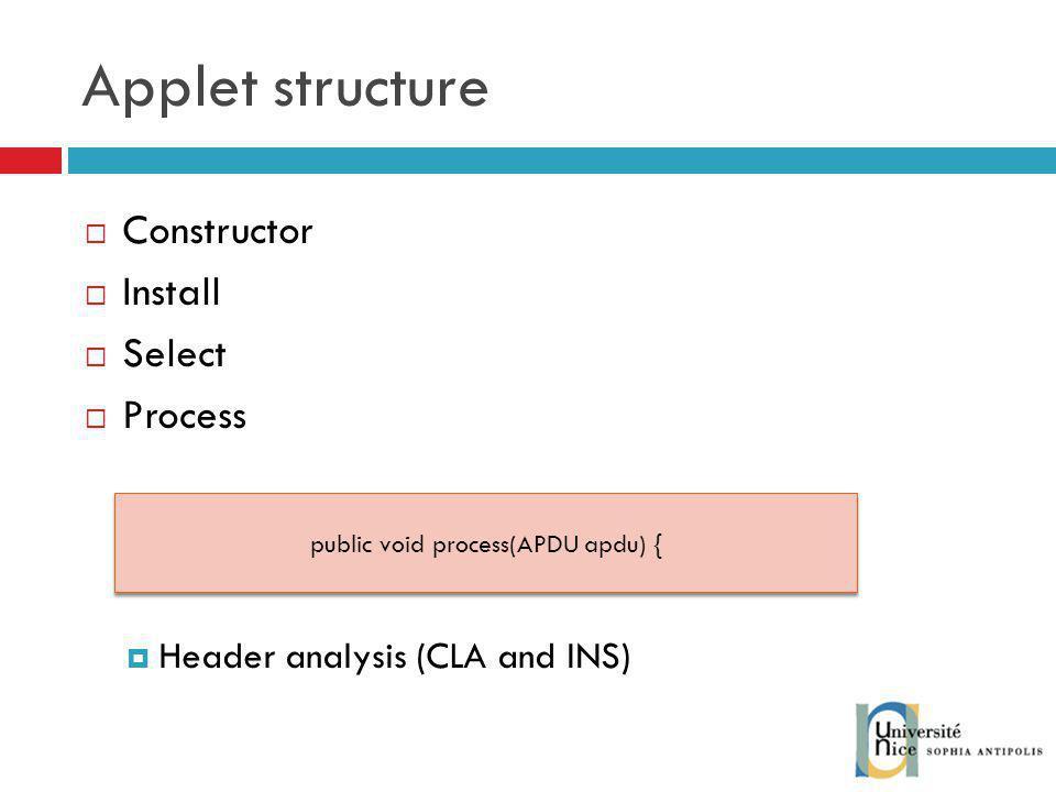 public void process(APDU apdu) {