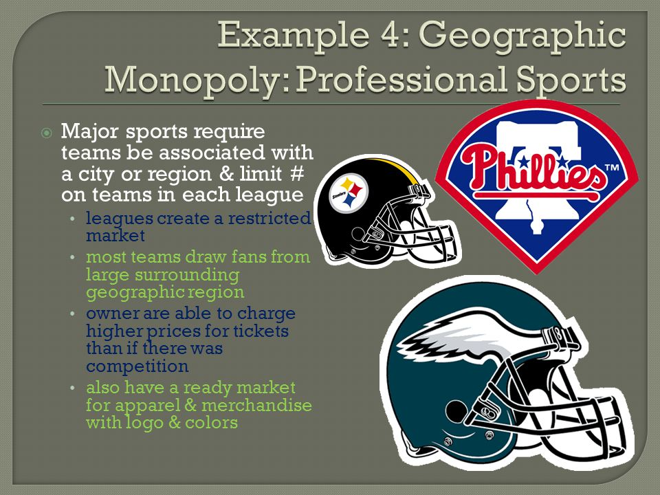 Example 4: Geographic Monopoly: Professional Sports