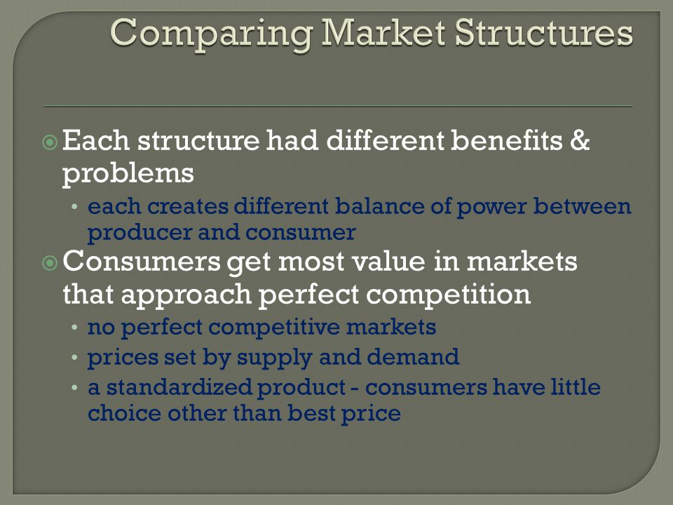 benefits for consumers in an oligopoly market 4 economic effects of oligopoly  consumers have to pay more in case  this is because the output produced under oligopoly depends on the market share held by.
