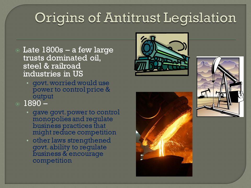 Origins of Antitrust Legislation