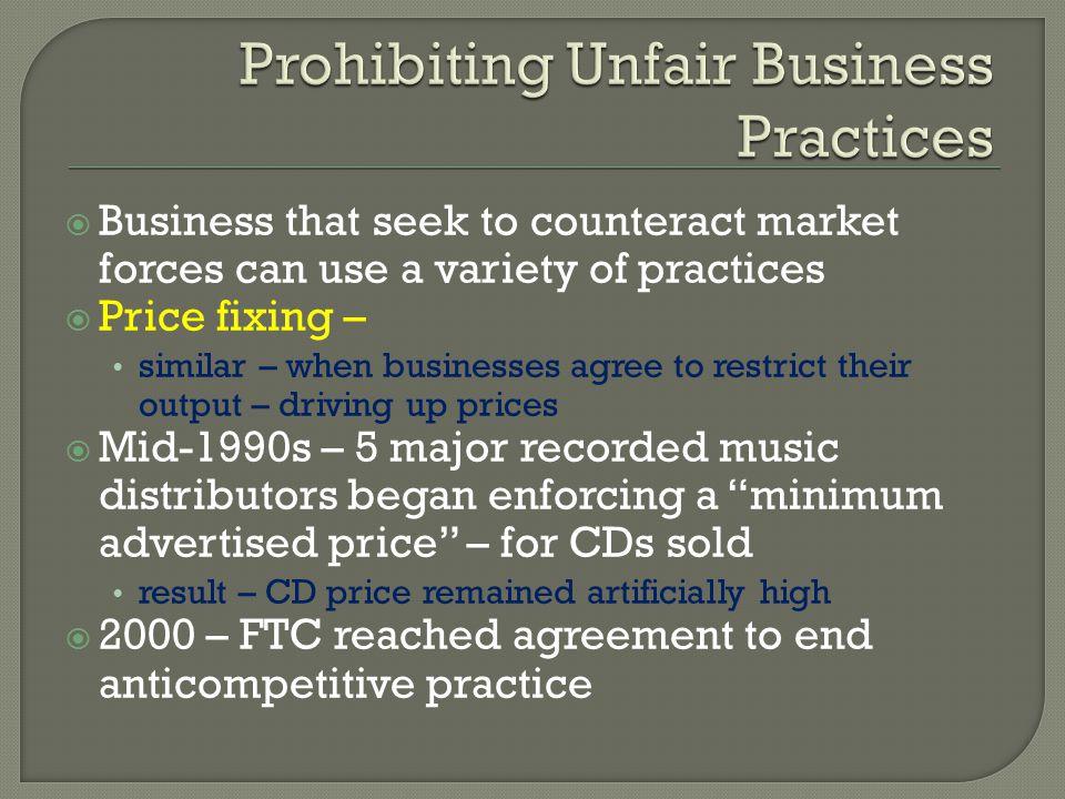 Prohibiting Unfair Business Practices