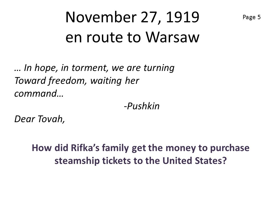 November 27, 1919 en route to Warsaw