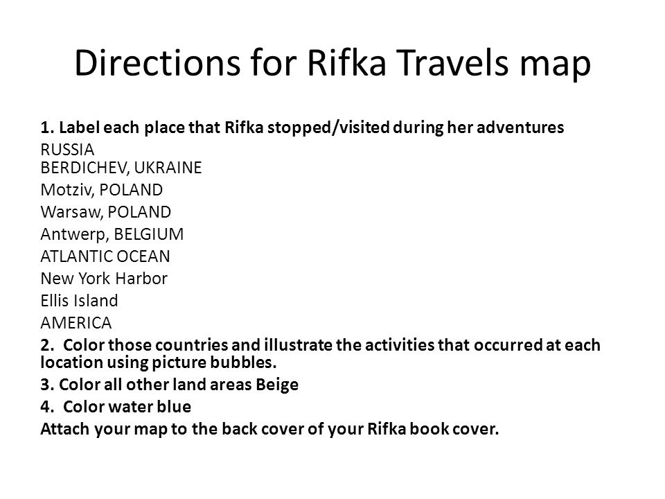Directions for Rifka Travels map