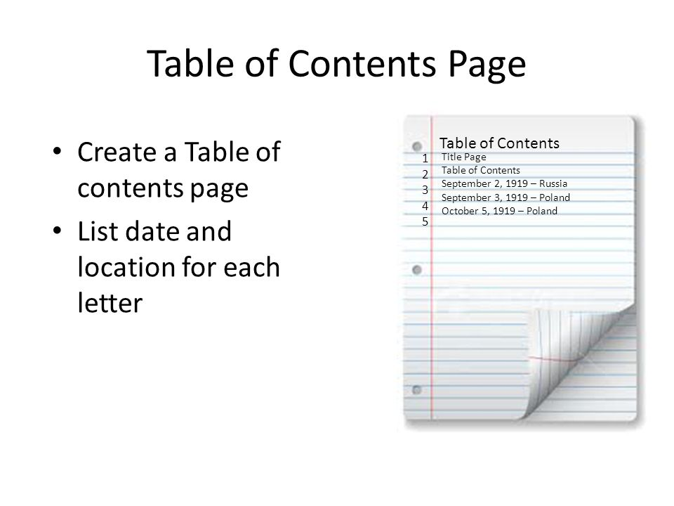 Table of Contents Page Create a Table of contents page