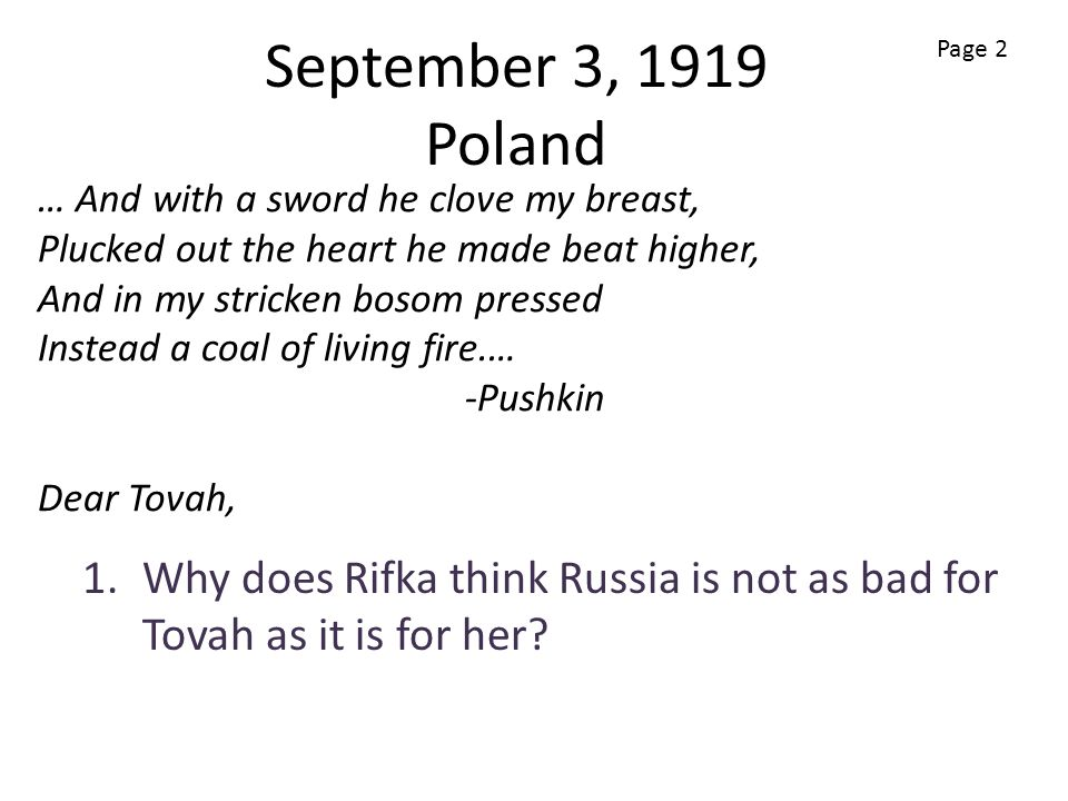 Why does Rifka think Russia is not as bad for Tovah as it is for her