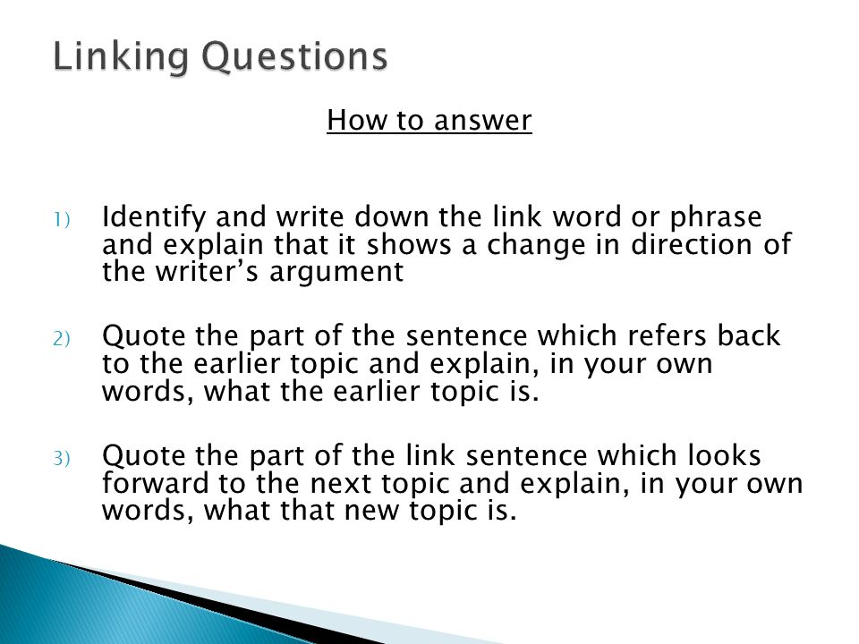Linking Questions How to answer