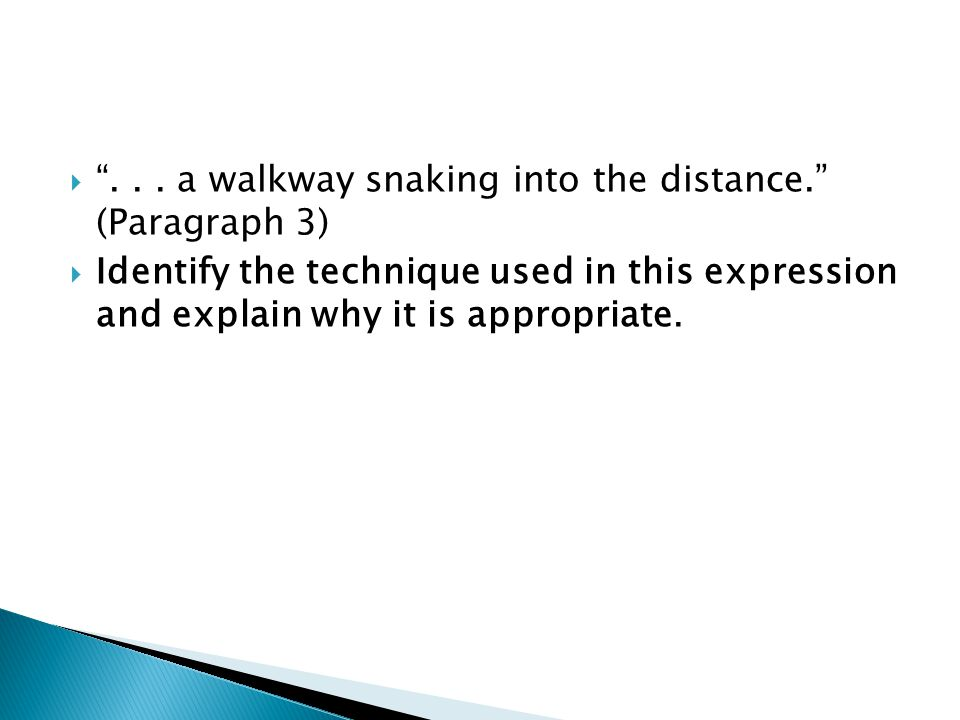 . . . a walkway snaking into the distance. (Paragraph 3)