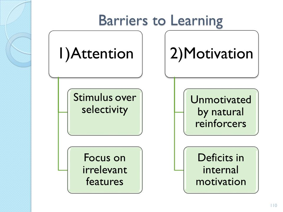 Barriers to Learning 1)Attention Stimulus over selectivity