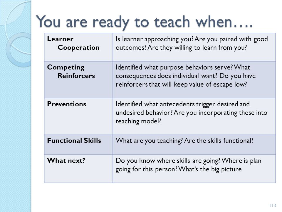 You are ready to teach when….