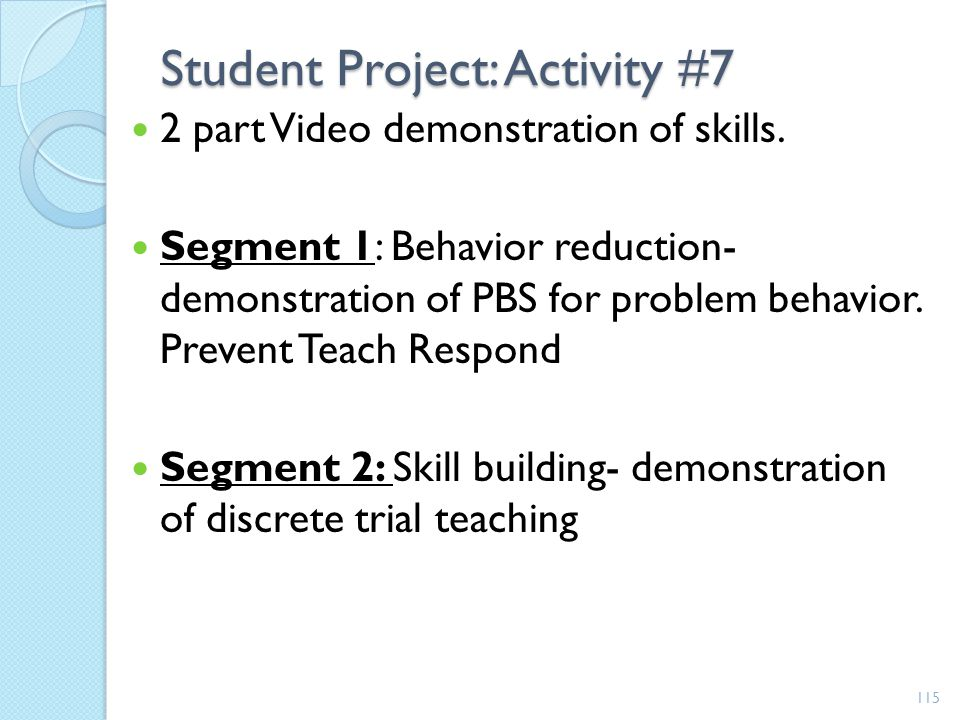 Student Project: Activity #7