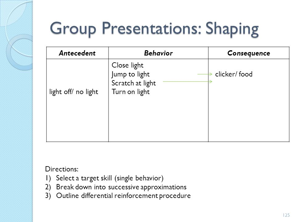 Group Presentations: Shaping