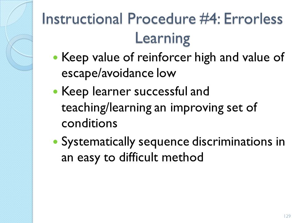 Instructional Procedure #4: Errorless Learning