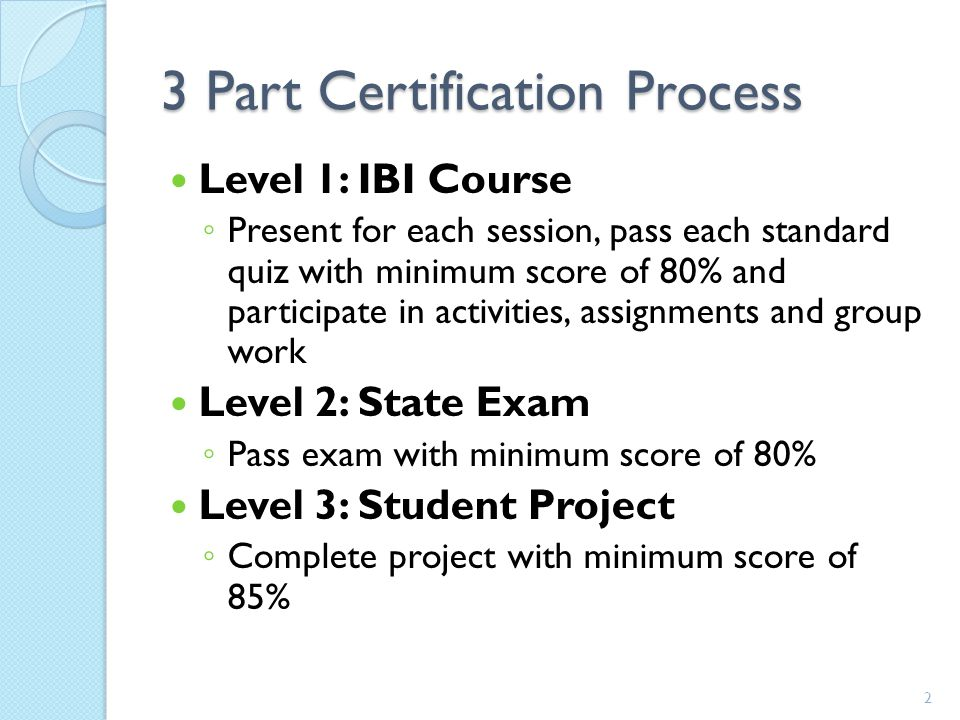3 Part Certification Process