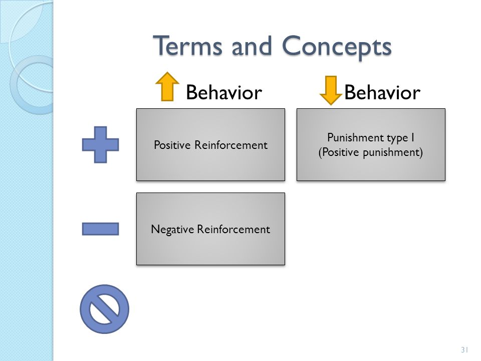 Terms and Concepts Behavior Behavior Punishment type I