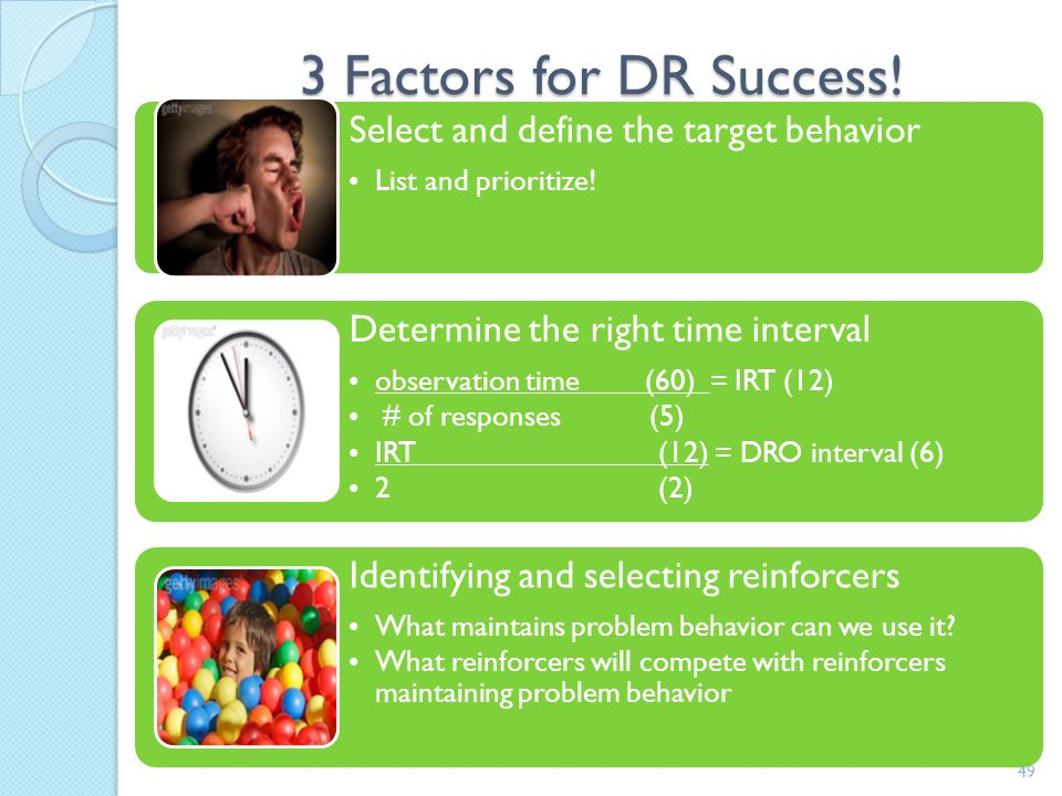 3 Factors for DR Success! Select and define the target behavior
