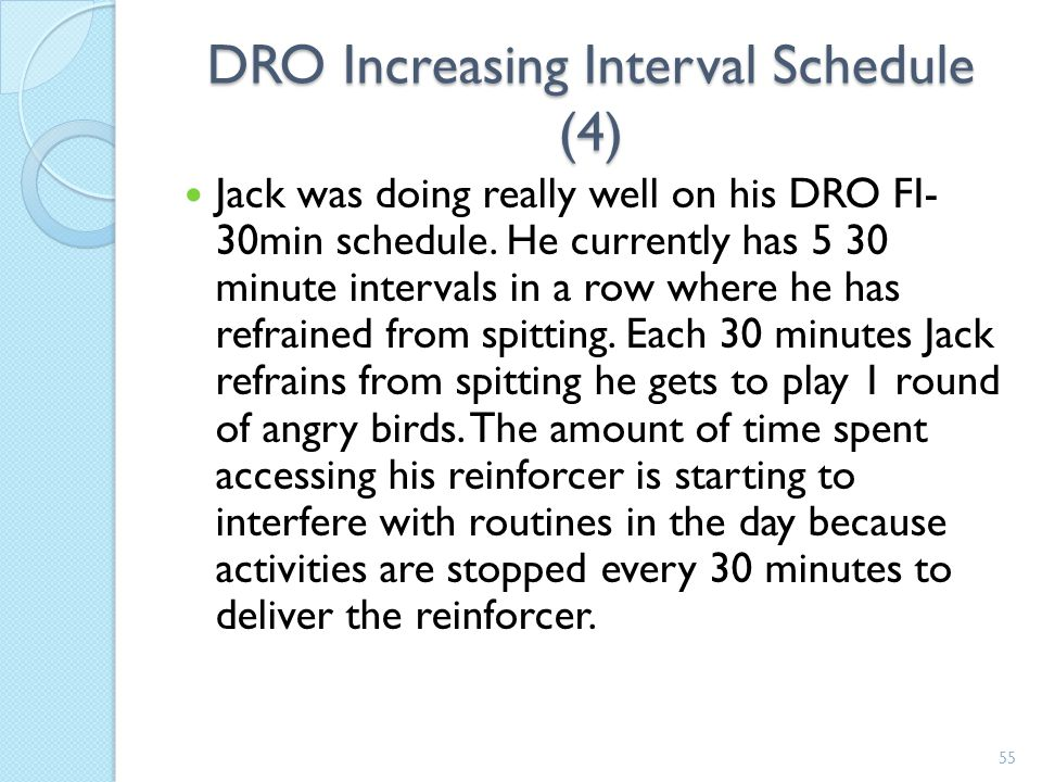 DRO Increasing Interval Schedule (4)