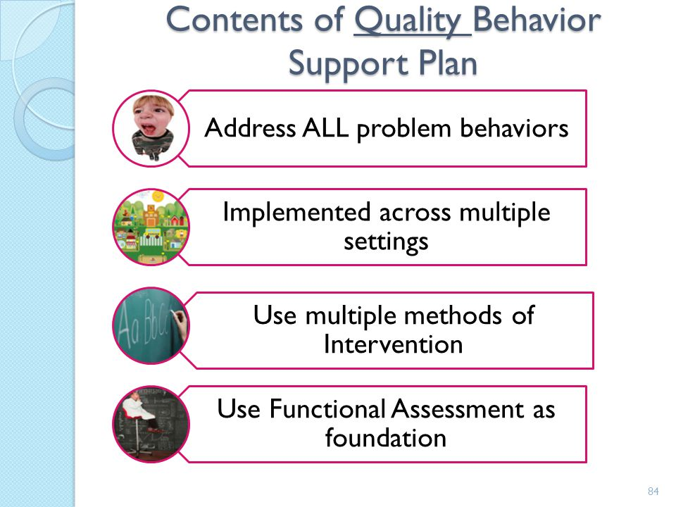 Contents of Quality Behavior Support Plan