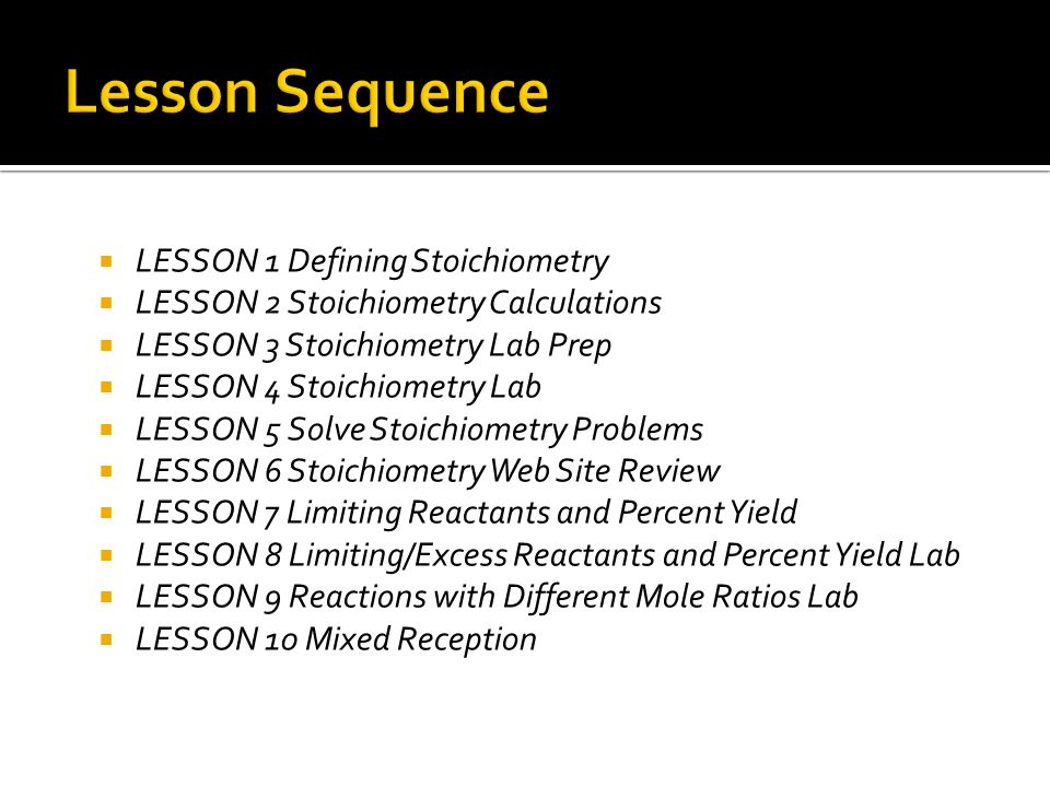Lesson Sequence LESSON 1 Defining Stoichiometry