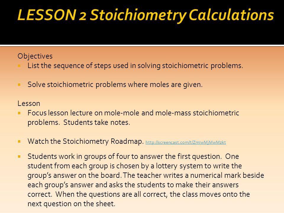 LESSON 2 Stoichiometry Calculations