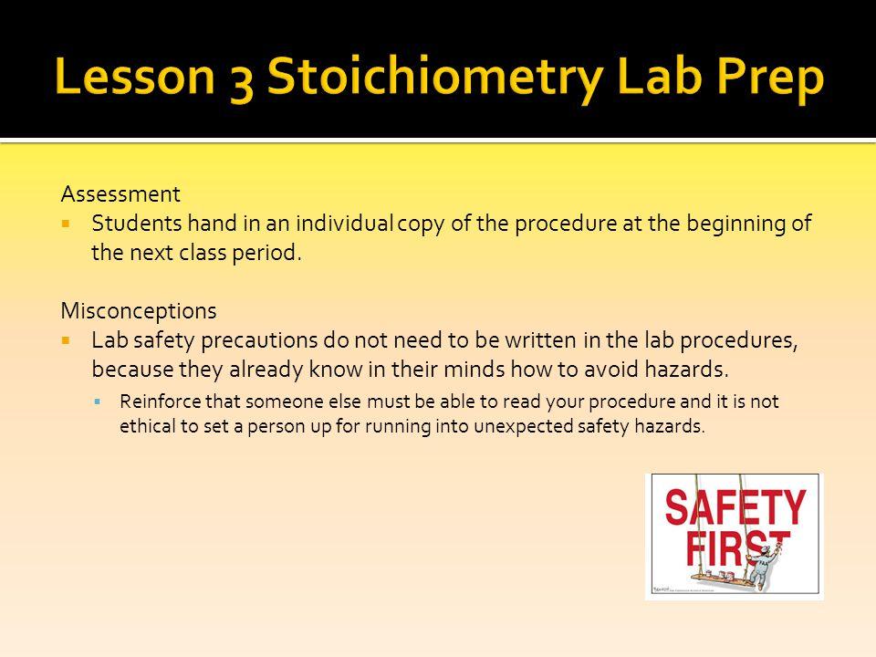 Lesson 3 Stoichiometry Lab Prep