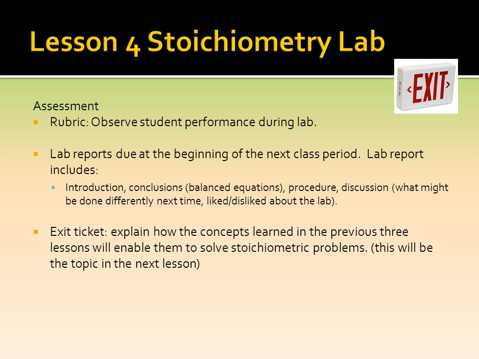 Lesson 4 Stoichiometry Lab