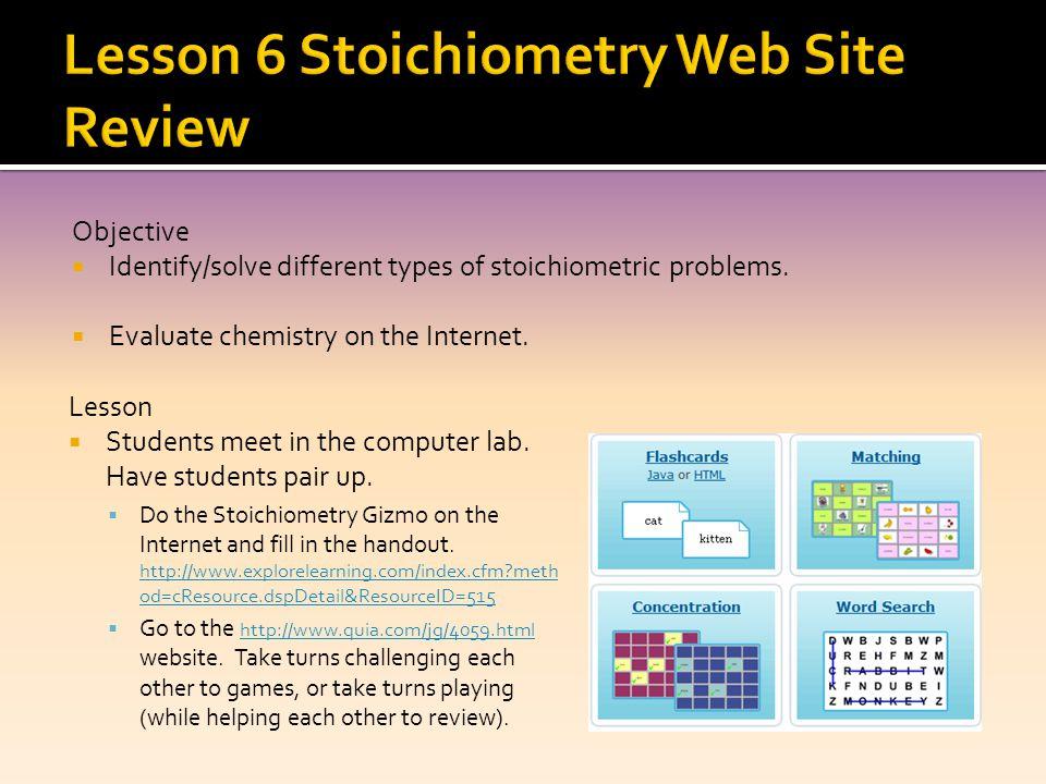 Lesson 6 Stoichiometry Web Site Review