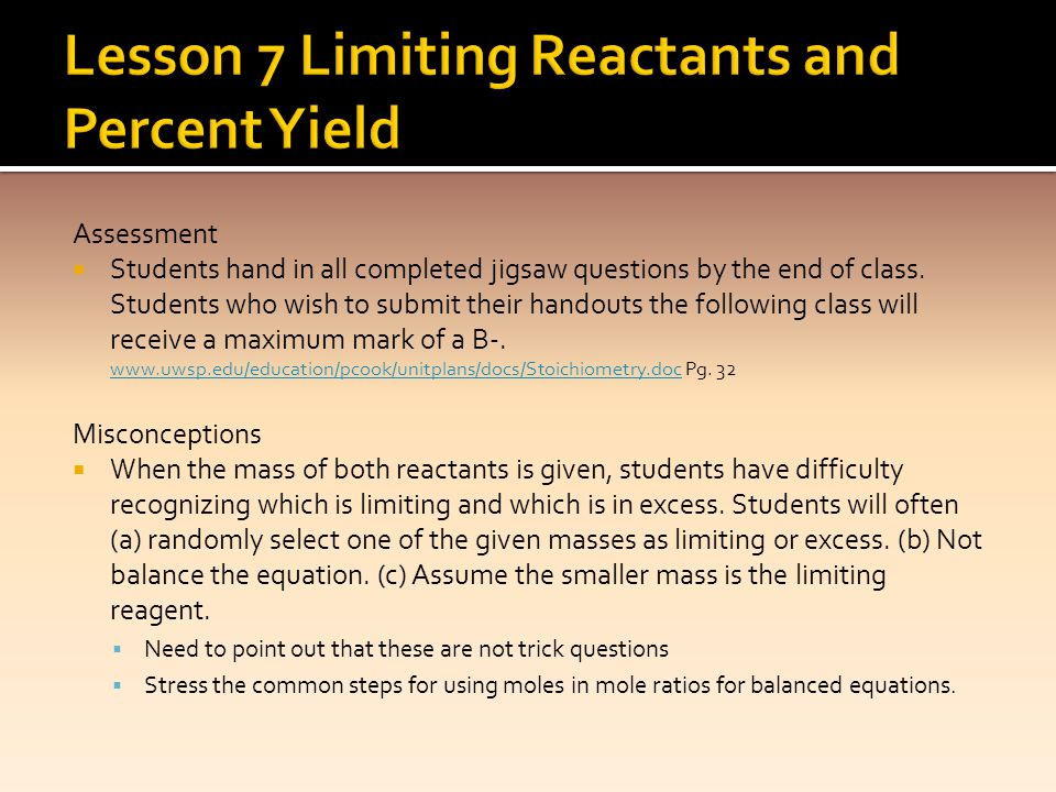 Lesson 7 Limiting Reactants and Percent Yield