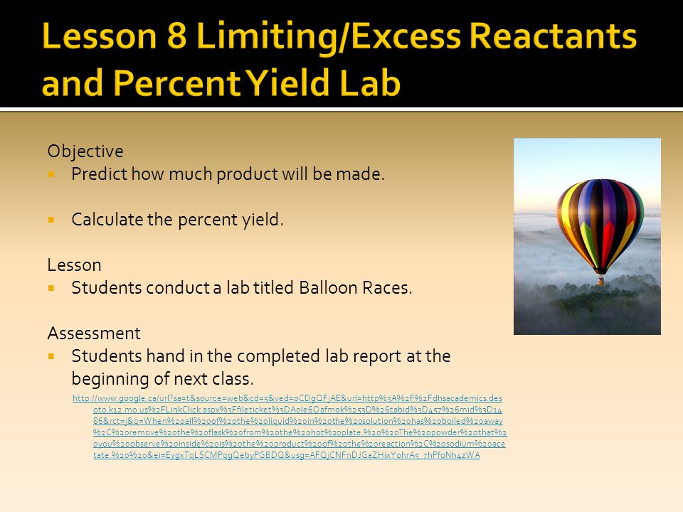 Lesson 8 Limiting/Excess Reactants and Percent Yield Lab