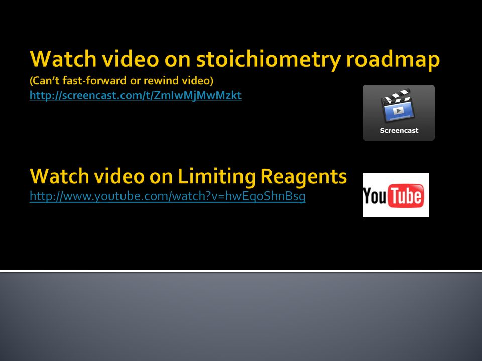 Watch video on stoichiometry roadmap (Can't fast-forward or rewind video)