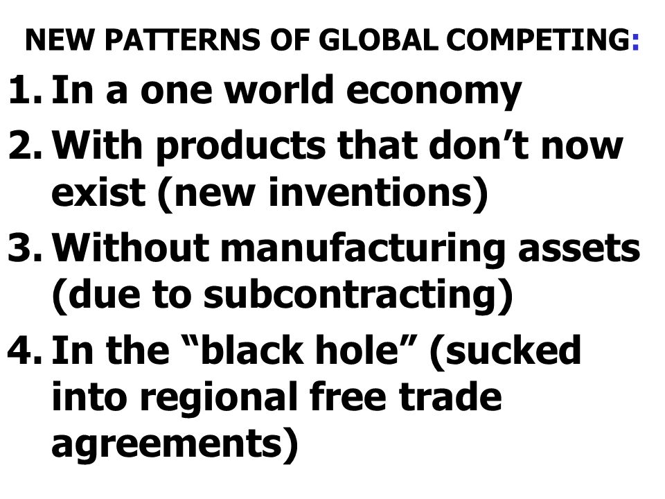 NEW PATTERNS OF GLOBAL COMPETING: