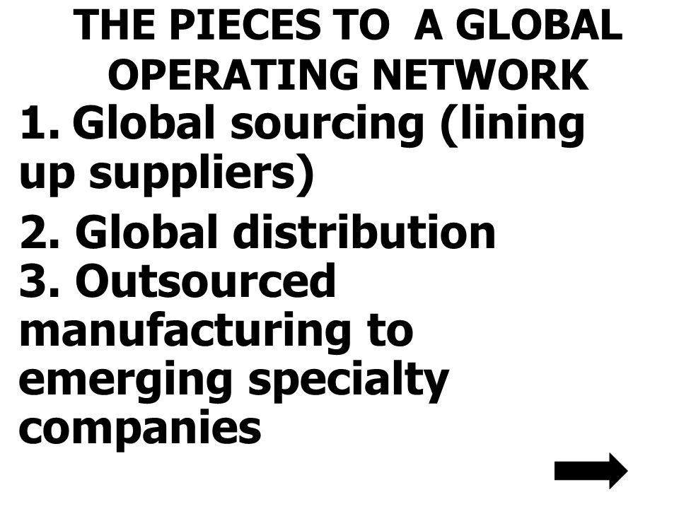 THE PIECES TO A GLOBAL OPERATING NETWORK