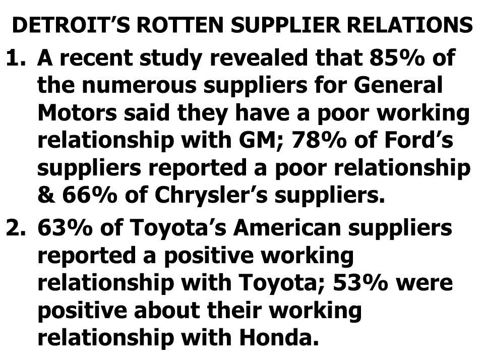 DETROIT'S ROTTEN SUPPLIER RELATIONS