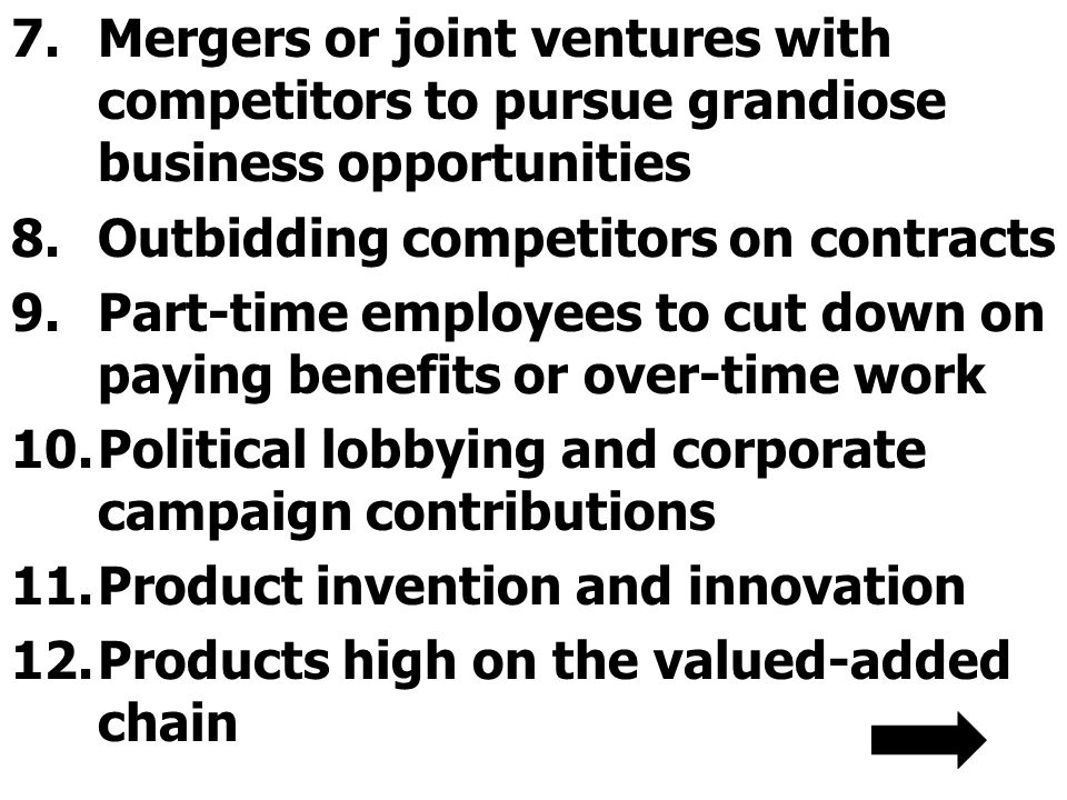 Mergers or joint ventures with competitors to pursue grandiose business opportunities