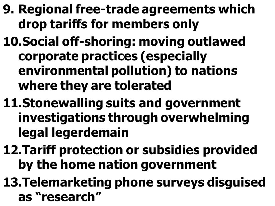 Regional free-trade agreements which drop tariffs for members only
