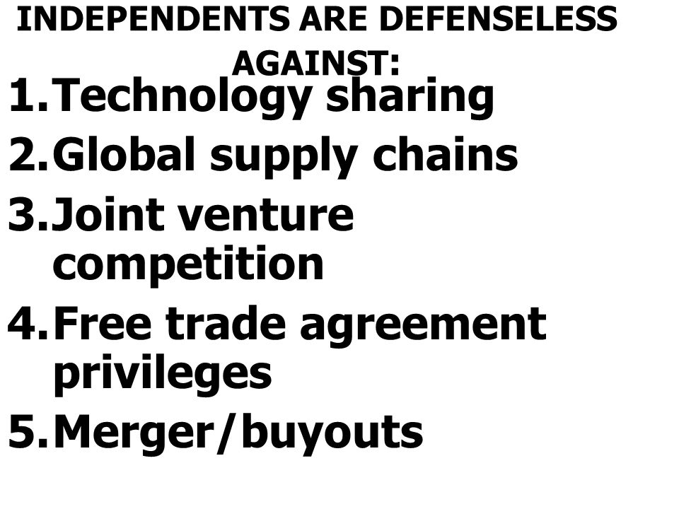 INDEPENDENTS ARE DEFENSELESS AGAINST: