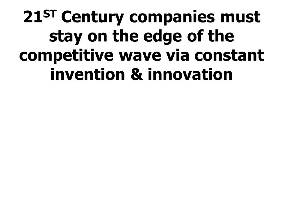 21ST Century companies must stay on the edge of the competitive wave via constant invention & innovation