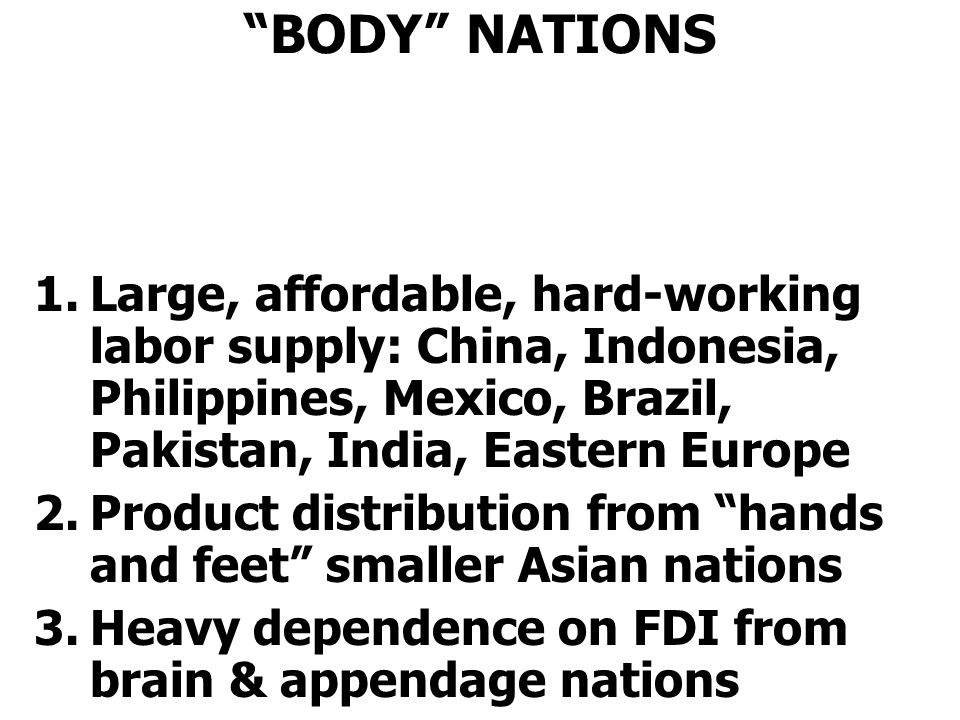 BODY NATIONS Large, affordable, hard-working labor supply: China, Indonesia, Philippines, Mexico, Brazil, Pakistan, India, Eastern Europe.