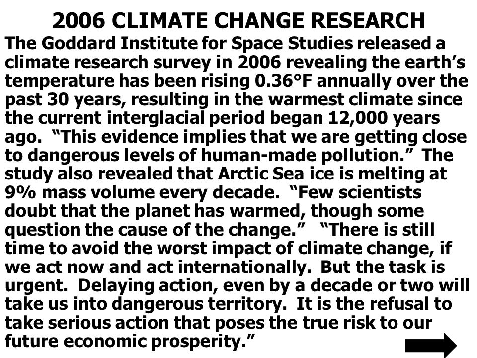 2006 CLIMATE CHANGE RESEARCH