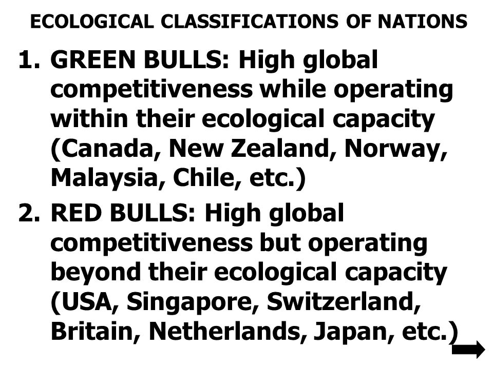 ECOLOGICAL CLASSIFICATIONS OF NATIONS